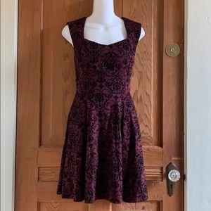 NWOT IXIA Purple Burnt Velvet Skater Dress